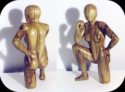 Distracted - eucalyptus figurative sculpture by Christopher Rebele