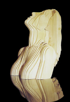 Ecstasy Figure, wood plank sculpture by Christopher Rebele